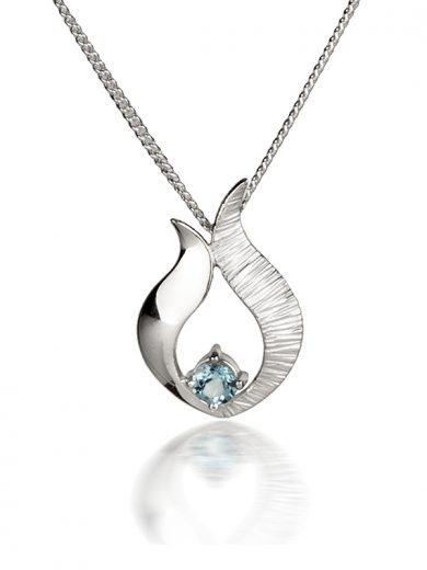 Fiona Kerr Jewellery / Ebb and Flow Small Silver Pendant with Blue Topaz - EF06B