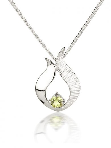 Fiona Kerr Jewellery / Ebb and Flow Small Silver Pendant with Peridot - EF06A
