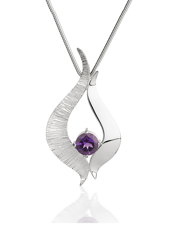 Fiona Kerr Jewellery / Ebb and Flow Large Silver Pendant with Amethyst - EF08A