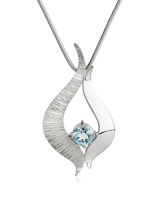 Fiona Kerr Jewellery / Ebb and Flow Large Silver Pendant with Blue Topaz – EF08B