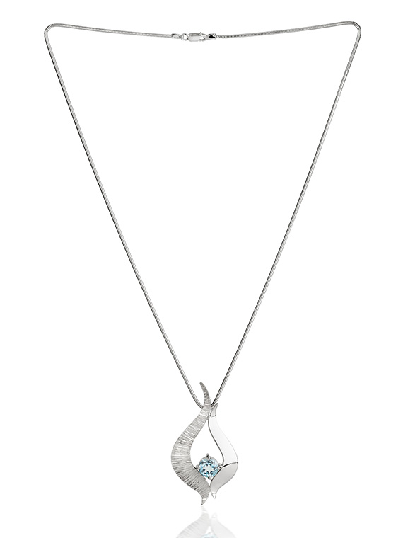 Fiona Kerr Jewellery / Ebb and Flow Large Silver Pendant with Blue Topaz - EF08B