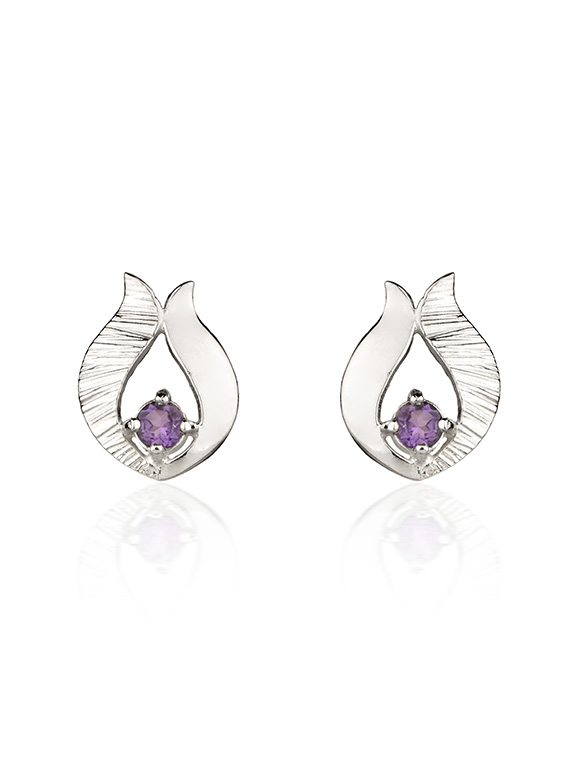 Fiona Kerr Jewellery / Ebb and Flow Silver Stud Earrings with Amethyst - EF10A