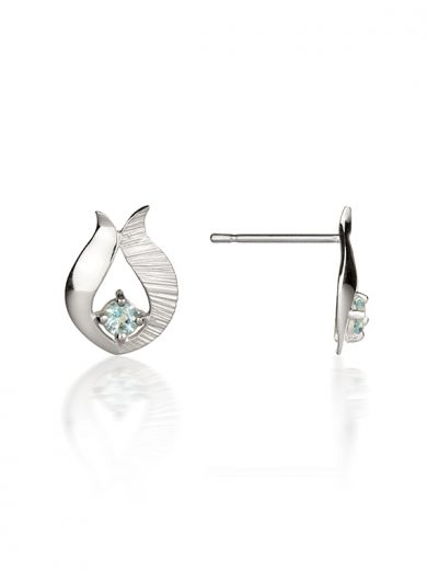 Fiona Kerr Jewellery / Ebb and Flow Silver Stud Earrings with Blue topaz - EF10B