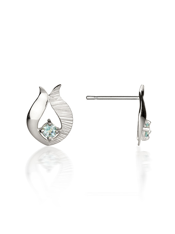 Fiona Kerr Jewellery / Ebb and Flow Silver Stud Earrings with Blue topaz – EF10B