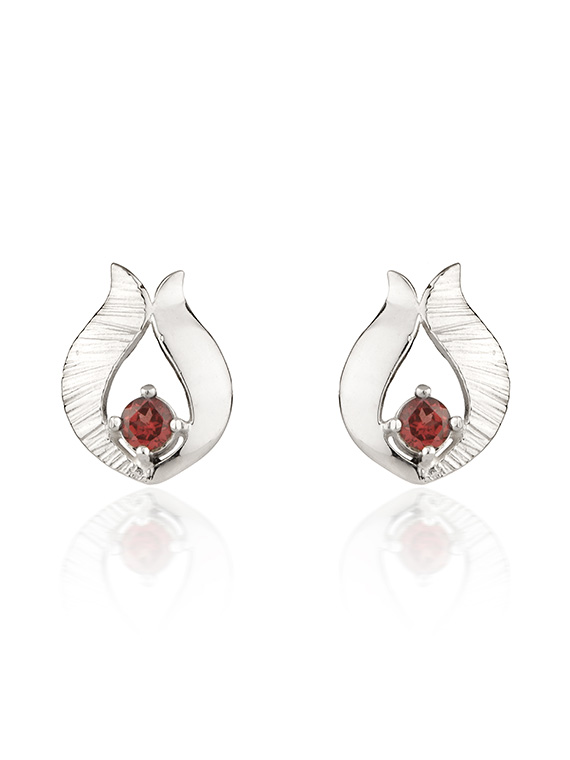 Fiona Kerr Jewellery / Ebb and Flow Silver Stud Earrings with Garnet - EF10G