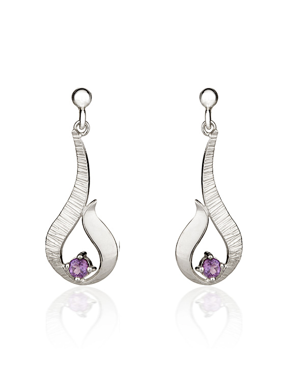 Fiona Kerr Jewellery / Ebb and Flow Small Silver Drop Earrings with Amethyst – EF12A