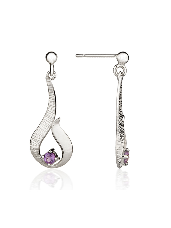 Ebb and Flow Small Silver Drop Earrings with Amethyst - EF12A