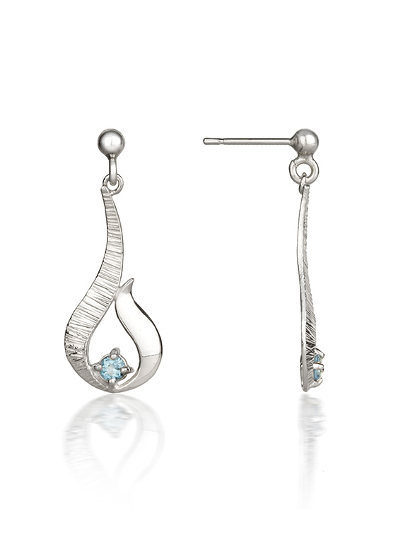 Fiona Kerr Jewellery / Ebb and Flow Small Silver Drop Earrings with Blue Topaz - EF12B