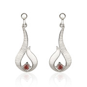 Fiona Kerr Jewellery / Ebb and Flow Small Silver Drop Earrings with Garnet - EF12G