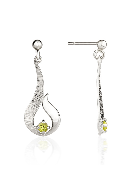 Fiona Kerr Jewellery / Ebb and Flow Small Silver Drop Earrings with Peridot - EF12P