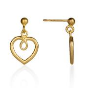 Fiona Kerr Jewellery / Hearts Gold Plated heart drop earrings - GHH02