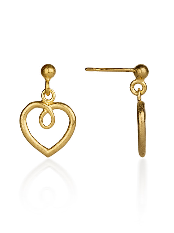 Fiona Kerr Jewellery / Hearts Gold Plated heart drop earrings - GHH02
