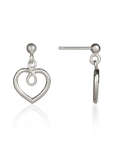 Fiona Kerr Jewellery / Hearts Silver drop earrings - HH02F