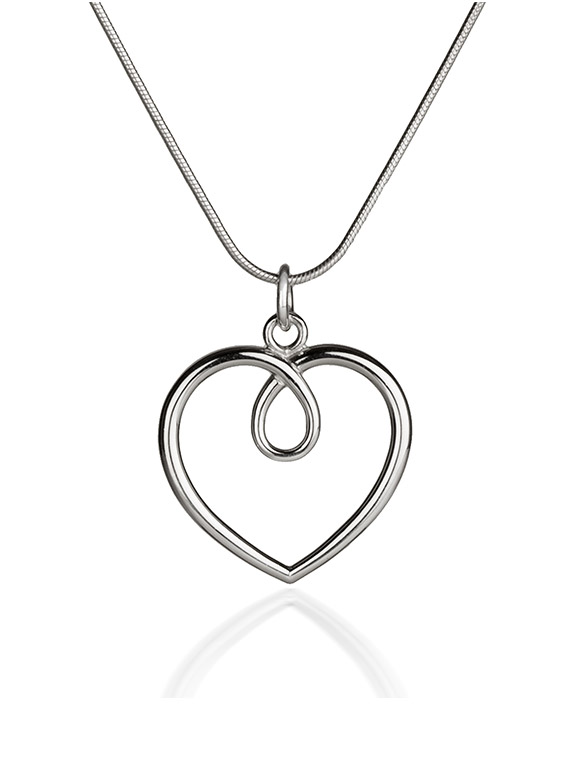 Fiona Kerr Jewellery / Hearts Large Polished silver heart Pendant- HH04