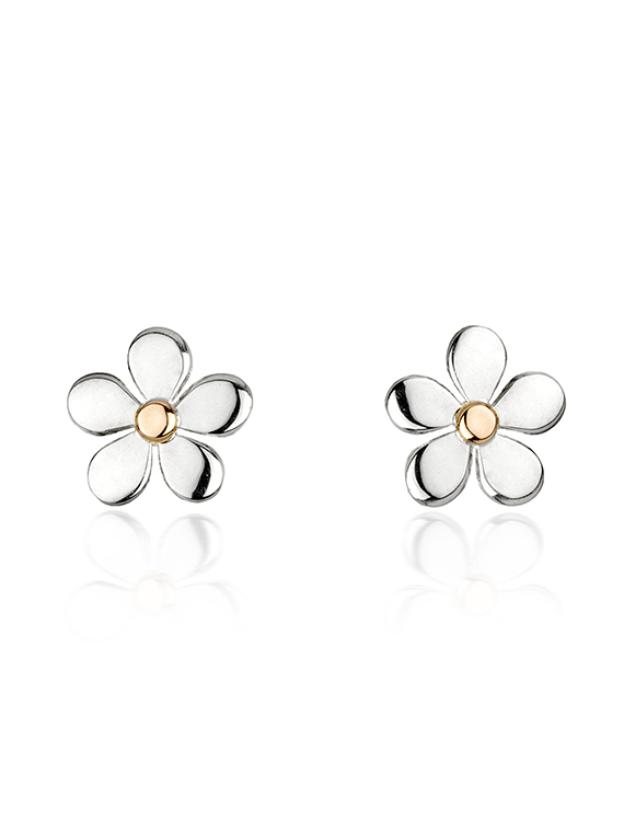 silver small medium earrings gold daisy and plate