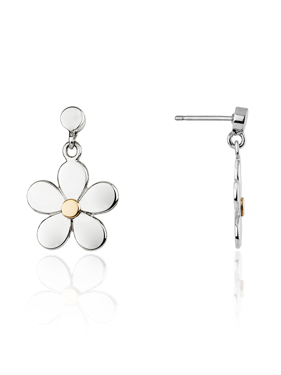 Fiona Kerr Jewellery | Daisy Chain Silver & Rose Gold Drop Earrings - DC05
