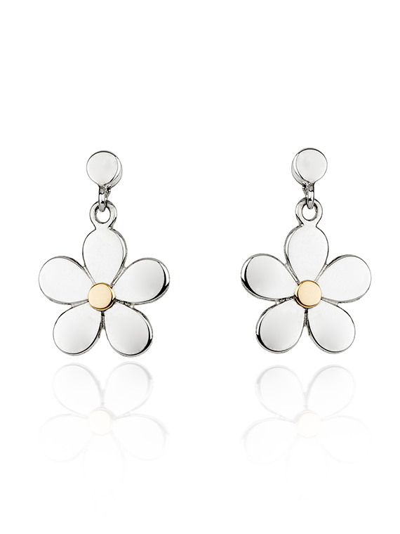 Fiona Kerr Jewellery | Daisy Chain Silver and Rose Gold Drop Earrings - DC05