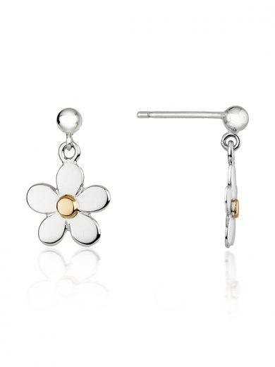 Fiona Kerr Jewellery   Daisy Chain Small Silver & Rose Gold Daisy Drop Earrings