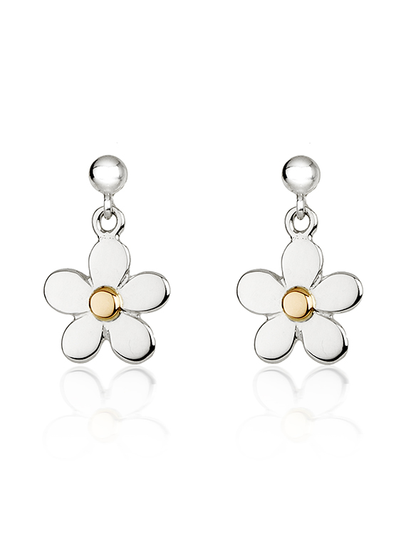 Fiona Kerr Jewellery | Daisy Chain Small Silver & Rose Gold Daisy Drop Earrings
