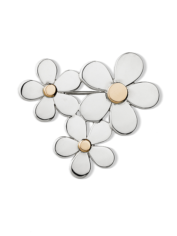 Fiona Kerr Jewellery | Daisy Chain Silver and Gold Brooch – DC32