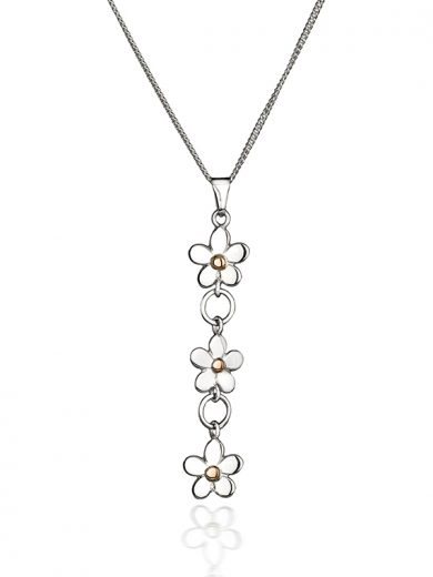 Fiona Kerr Jewellery | Daisy Chain Silver & Rose Gold Drop Pendant