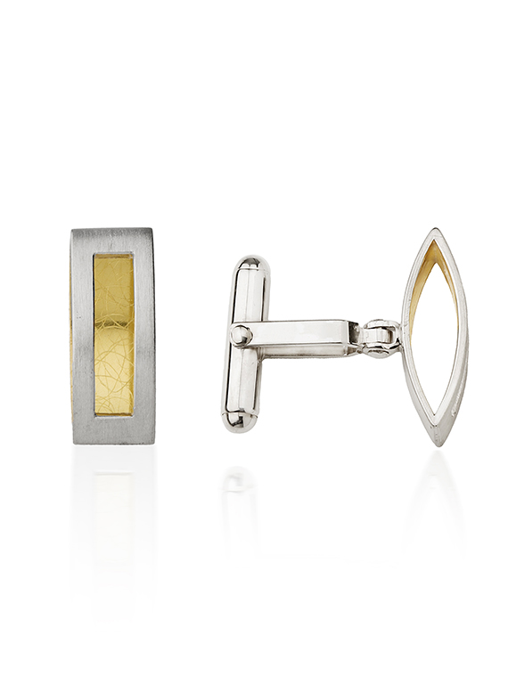 Silver & 22ct Yellow Gold Rectangle Cufflinks