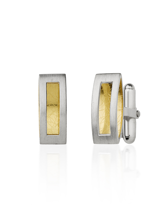 Fiona Kerr Jewellery | Silver & 22ct Yellow Gold Rectangle Cufflinks