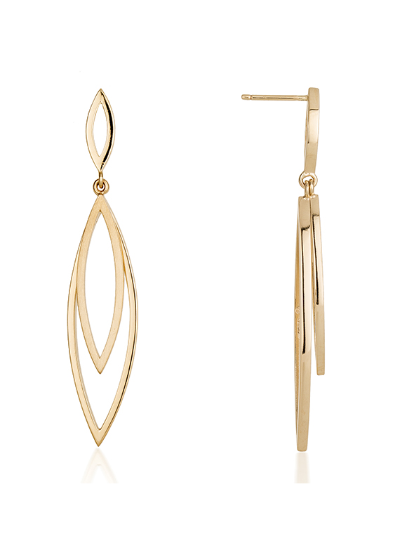 Fiona Kerr Jewellery | 9ct yellow gold large drop earrings with polished and satin finish