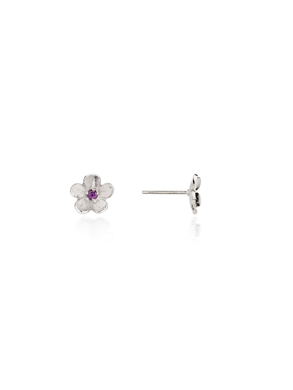Cherry Blossom / Small Silver Stud Earrings with Garnets - CB01G