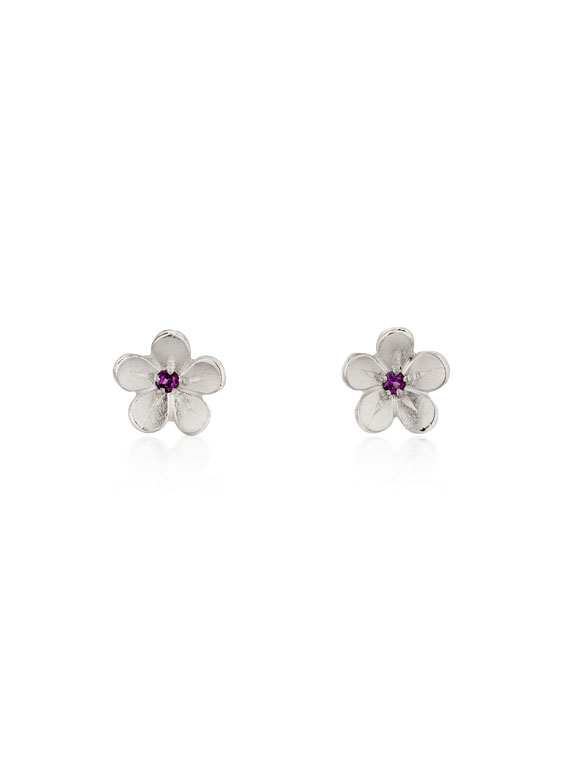 Fiona Kerr Jewellery / Cherry Blossom / Medium Silver Stud Earrings with Garnets – CB02G