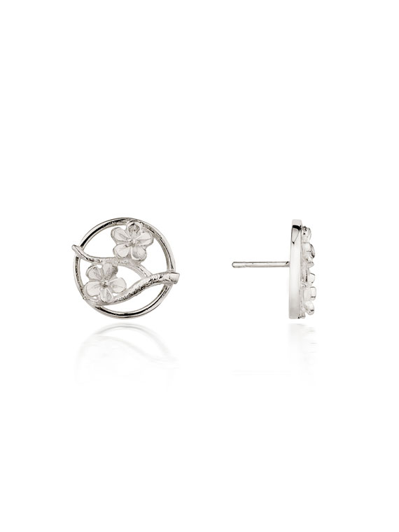 Cherry Blossom / Large Silver Stud Earrings - CB03