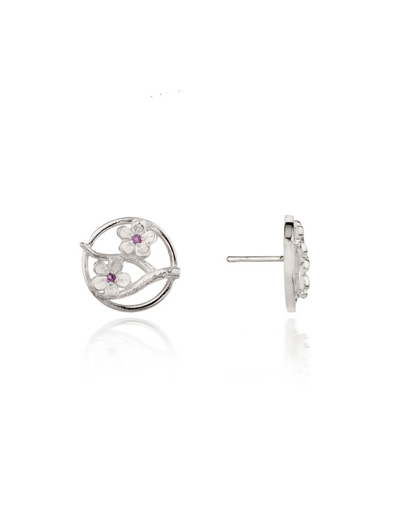 Cherry Blossom / Large Silver Stud Earrings with Garnets - CB03G