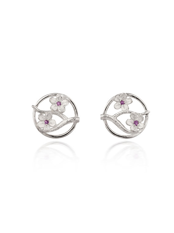 Fiona Kerr Jewellery / Cherry Blossom / Large Silver Stud Earrings with Garnets – CB03G