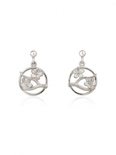 Cherry Blossom Silver Drop Earrings - CB04