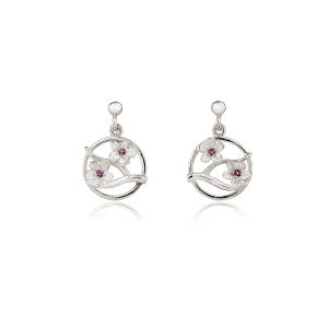Fiona Kerr Jewellery / Cherry Blossom / Silver Drop Earrings with Garnets - CB04G