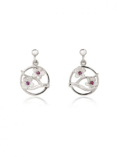 Fiona Kerr Jewellery / Cherry Blossom Silver Drop Earrings with Garnets - CB04G