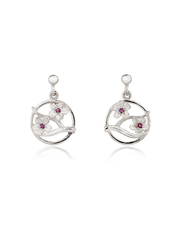 Fiona Kerr Jewellery / Cherry Blossom / Silver Drop Earrings with Garnets – CB04G