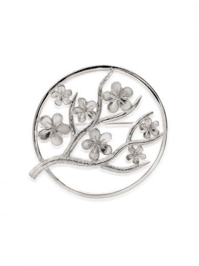 Cherry Blossom Large Silver Brooch - CB07