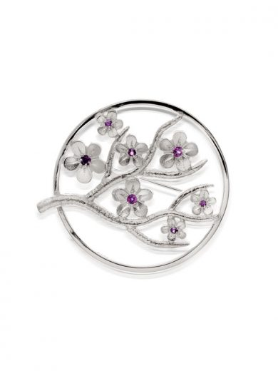 Cherry Blossom Large Silver Brooch with Garnets - CB07G