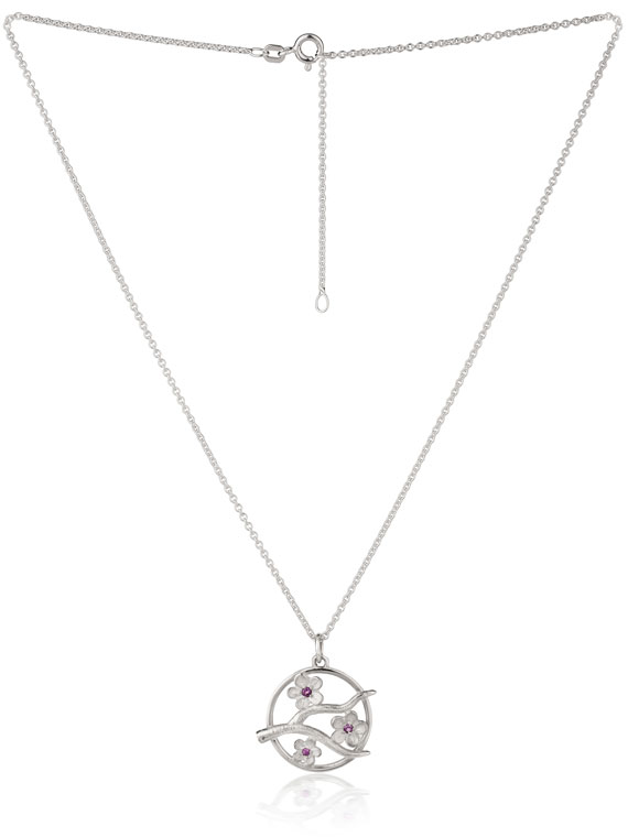 Cherry Blossom Medium Silver Pendant with Garnets - CB05G