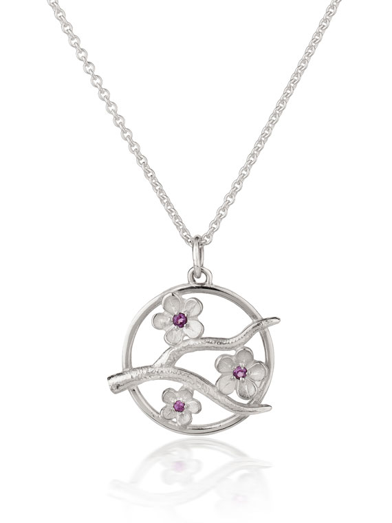 Fiona Kerr Jewellery / Cherry Blossom / Medium Silver Pendant with Garnets – CB05G