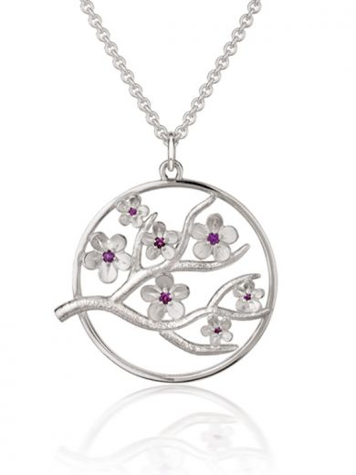 Cherry Blossom Large Silver Pendant with Garnets - CB06G