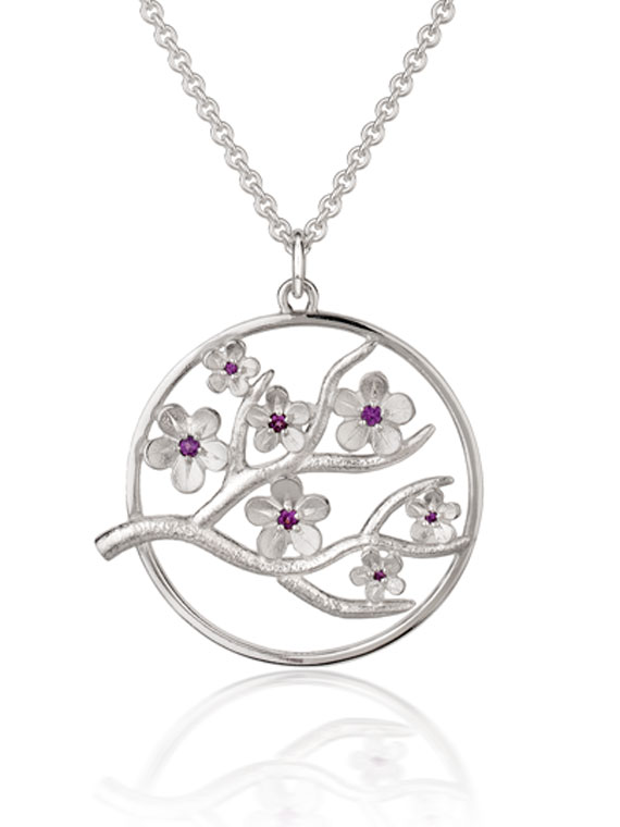Fiona Kerr Jewellery / Cherry Blossom / Large Silver Pendant with Garnets – CB06G