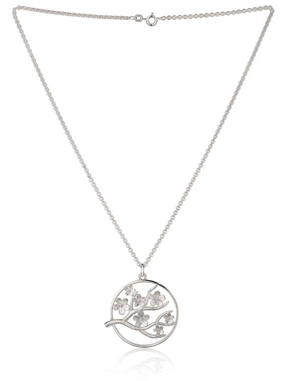 Cherry Blossom Large Silver Pendant - CB06