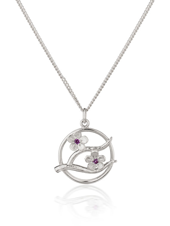 Fiona Kerr Jewellery / Cherry Blossom / Small Silver Pendant with Garnets – CB08G
