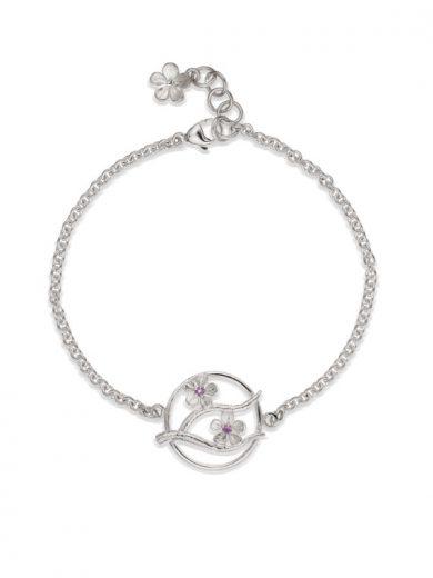 Cherry Blossom Silver Bracelet with Garnets - CB09G
