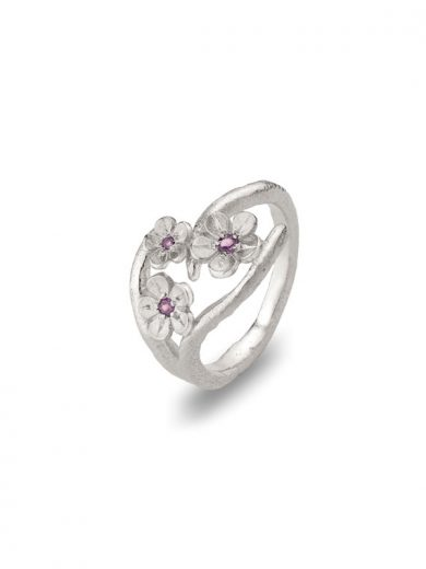 Cherry Blossom Silver Ring with Garnets - CB10G