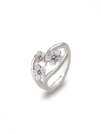 Cherry Blossom Silver Ring with Garnets - CB10G