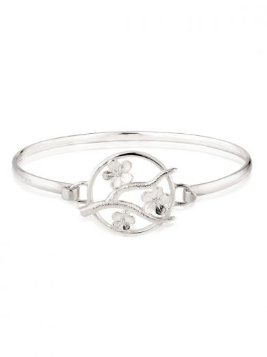 Cherry Blossom Silver Bangle - CB12