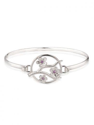 Silver Cherry Blossom Bangle with Garnets - CB12G